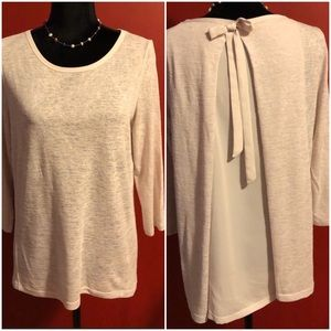 Lauren Conrad knitted blouse with sheer bow back